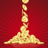 coins fallande guld Arkivbilder