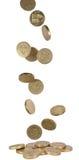 coins fallande uk royaltyfria bilder