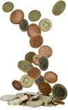 coins fallande uk Fotografering för Bildbyråer