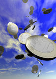Coins Falling. From the sky - includes a clipping path for easy cut outs royalty free stock photography