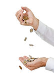 Coins falling Stock Image