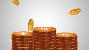 Coins falling background HD animation stock video footage