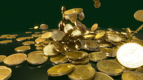 Coins Falling in slow motion stock footage