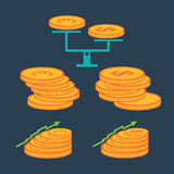 Coins and finance elements. Set of coins and finance elements Royalty Free Stock Photo