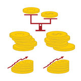 Coins and finance elements. Set of coins and finance elements Stock Photo