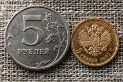 Coins five rubles Royalty Free Stock Image
