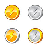 Coins with flash Stock Images