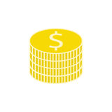Coins flat icon, finance and business Royalty Free Stock Photo
