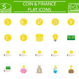 Coins flat pictograms package, finance signs Stock Image