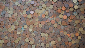 Coins on floor. In Thailand temple for lucky Stock Image
