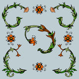 Coins floraux décoratifs Photos libres de droits