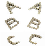 Coins font; A,B,C Stock Photos