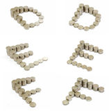Coins font; D, E, F Royalty Free Stock Photos