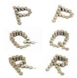 Coins font; P,Q,R Stock Images