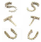 Coins font; S,T,U Royalty Free Stock Images