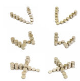 Coins font; V,W,X Stock Images