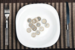 Coins on food plate Stock Image