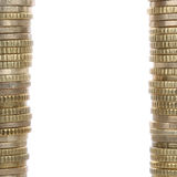 Coins forming a frame with copy space Royalty Free Stock Photo