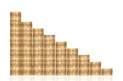 Coins forming a rising chart - financial success Royalty Free Stock Photos