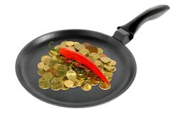 Coins in a frying pan Royalty Free Stock Photo