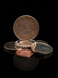 Coins of GDR (DDR) and the European Union. Stock Photos