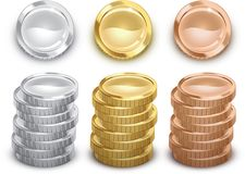 Coins. Generic silver, gold, and copper coins Royalty Free Illustration