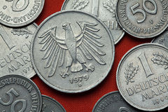 Coins of Germany. German eagle Stock Photos