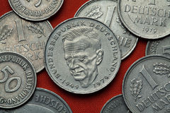 Coins of Germany. German politician Kurt Schumacher. Coins of Germany. German social democratic politician Kurt Schumacher depicted in the German two Deutsche Royalty Free Stock Photos