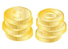 Coins from gild Stock Photography