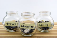 Coins in glass container with travel, saving and education labels Royalty Free Stock Photo