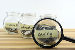 Coins in glass container with travel, saving and education labels Royalty Free Stock Images