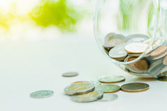 Coins in a glass,finance concept,business background,money conte Stock Photography
