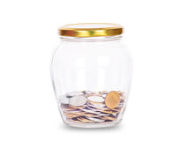 Coins in glass money jar, Stock Photos