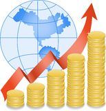 Coins and globe Stock Images
