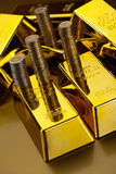 Coins and gold bars, ambient financial concept.  Stock Image