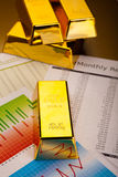 Coins and gold bars, ambient financial concept.  Royalty Free Stock Photography