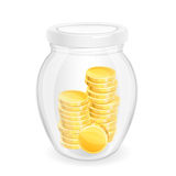 Coins. Gold coins in a glass jar. Eps 10 Royalty Free Stock Image