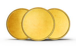 Coins. Gold coins isolated on a white. 3d illustration Stock Photos