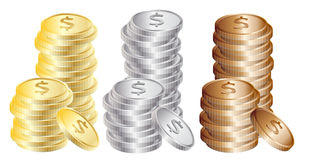 Coins: Gold, silver, bronze Royalty Free Stock Image