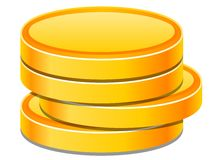 Coins. Gold coins in a stack Royalty Free Stock Images