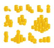 Coins of gold in stacks Stock Images