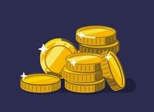 Coins golden money stack. Flat design vector Royalty Free Stock Photos
