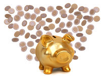 Coins and golden piggybank Royalty Free Stock Photography