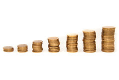 Coins graph. Graph of gold coins stacked on flat surface - horizontal Royalty Free Stock Photography
