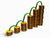Coins graph. With green arrow over white Stock Photo