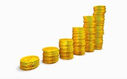 Coins graph. Isolated over white Stock Images