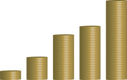 Coins graph. Five rows of gold coins arranged into a graph to show profit or loss Stock Photo