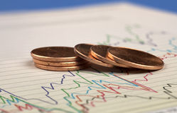 Coins on graph. Royalty Free Stock Images