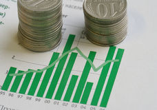 Coins and graph. Business background: the graph and stacks of coins Royalty Free Stock Photos