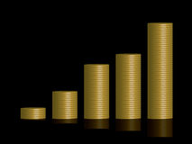 Coins graph black. A stack of plain gold coins reflected on a black background and arranged in a graph formation Royalty Free Stock Photo